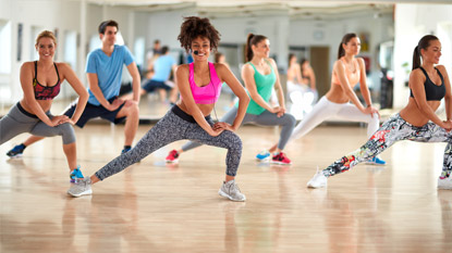 group exercise class in exercise studio