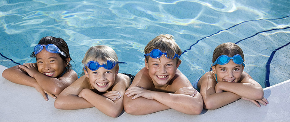 kids at outdoor pool
