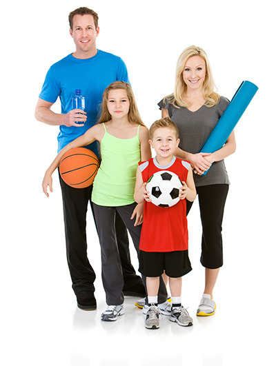 family members going to play and exercise